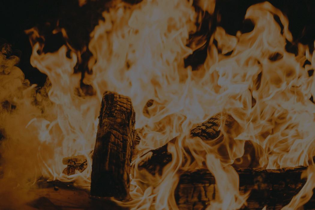 large roaring fire